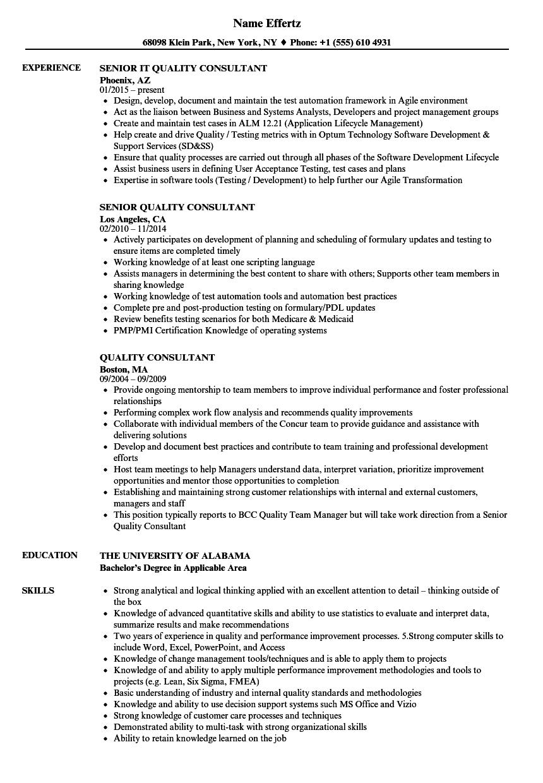 resume quality consultant