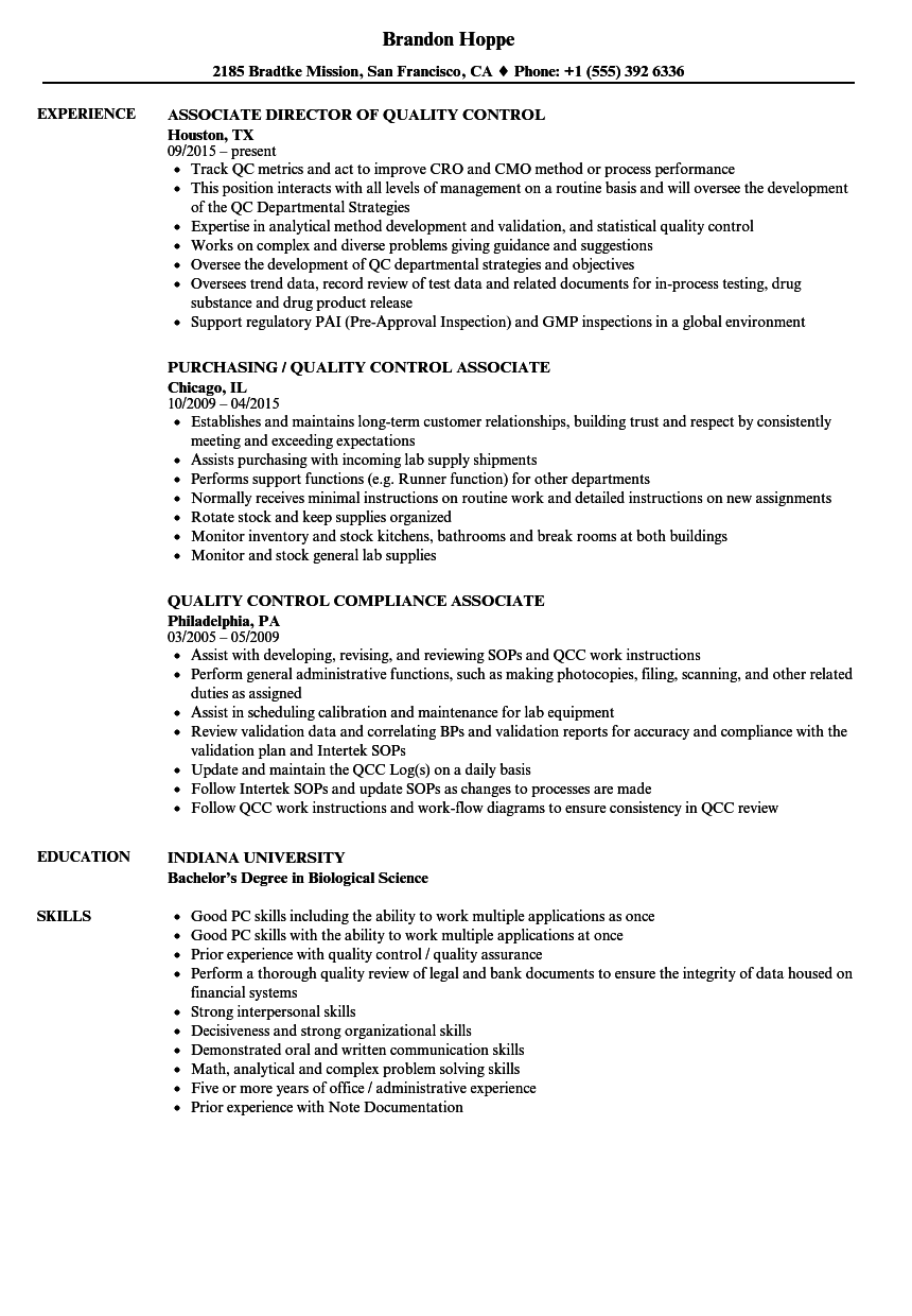 resume of a quality control manager