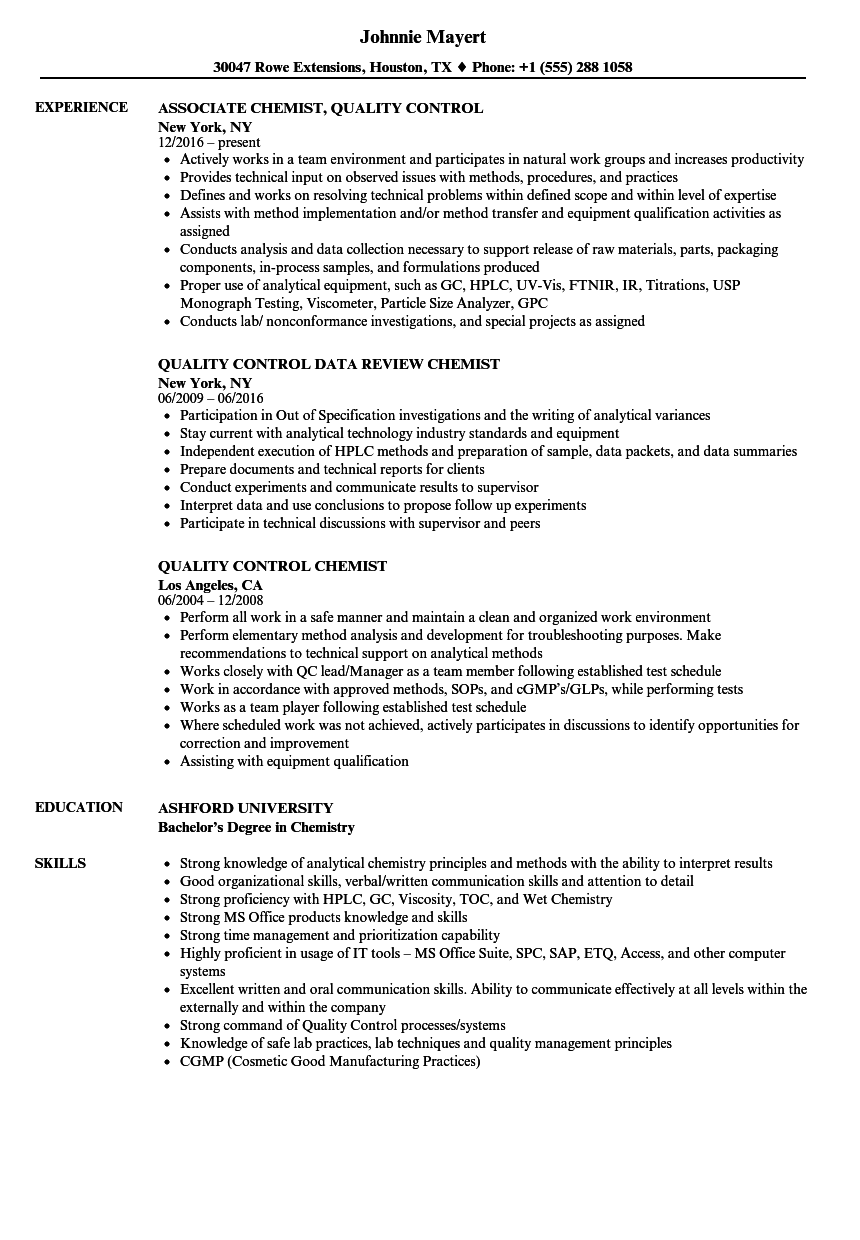 resume for quality control chemist
