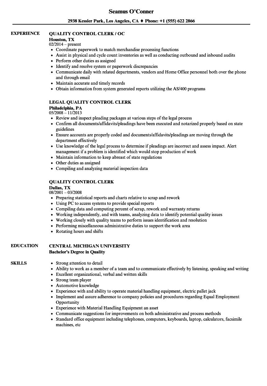 quality control lead resume