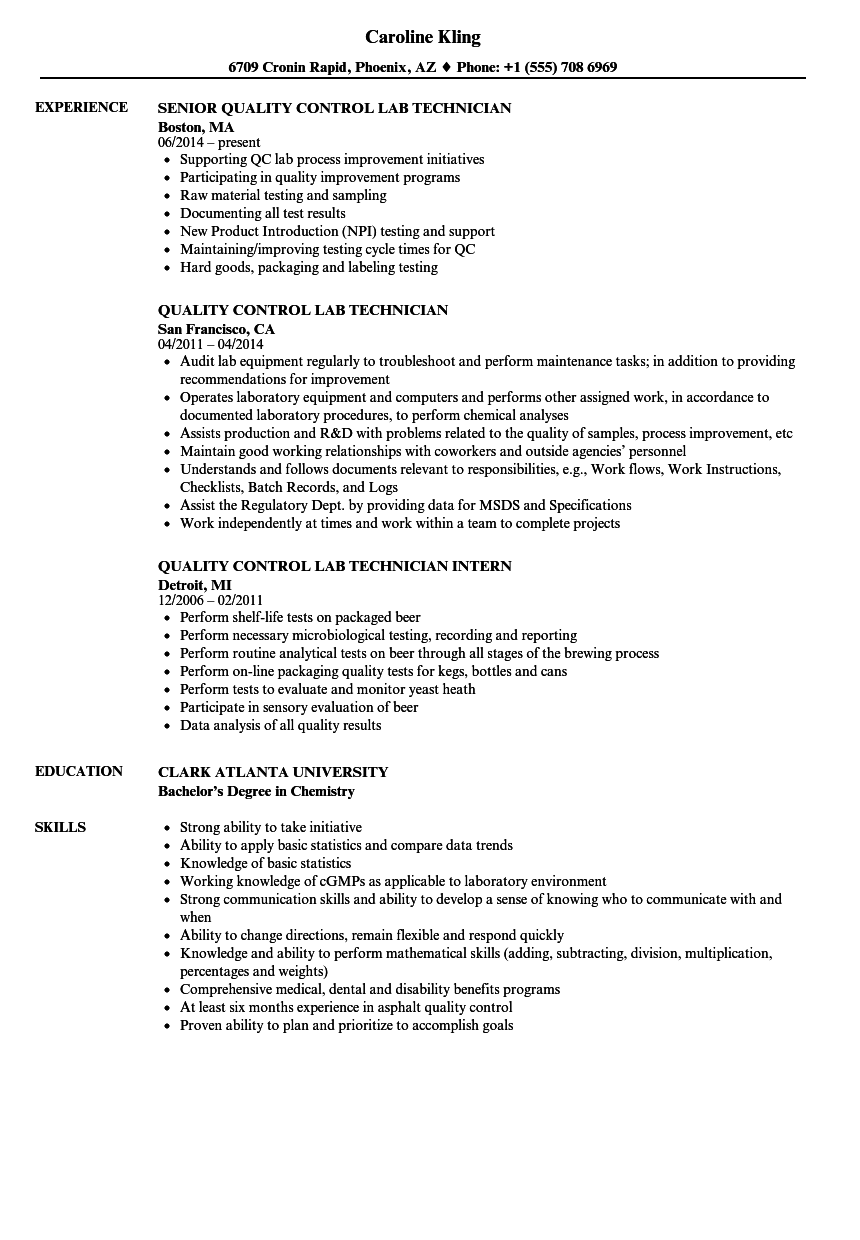 quality assurance microbiology resume