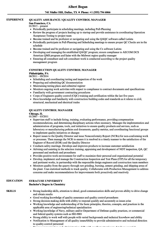 sample resume for qa qc manager