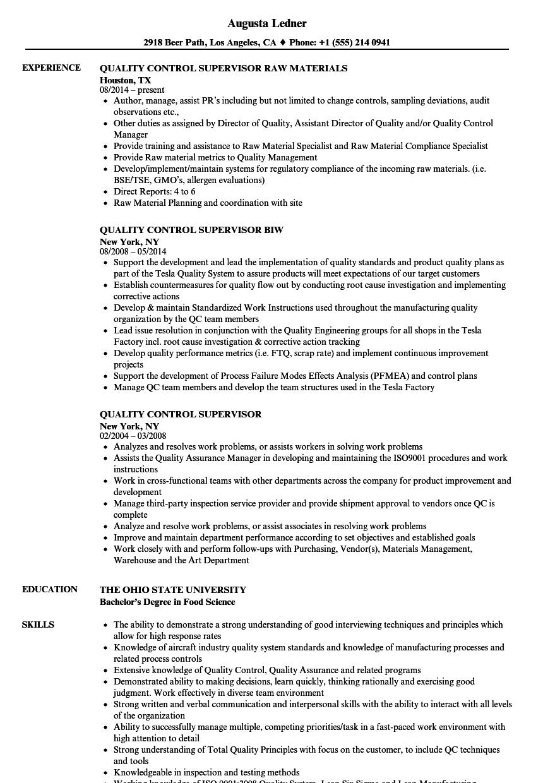 quality assurance supervisor resume samples