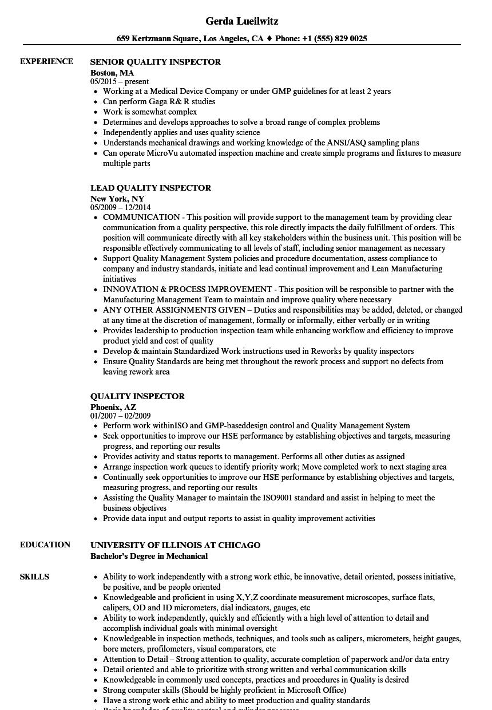 quality control resume sample