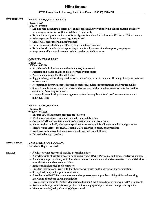 quality assurance team leader resume