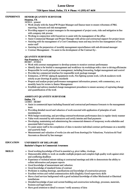 resume example quantity surveyor