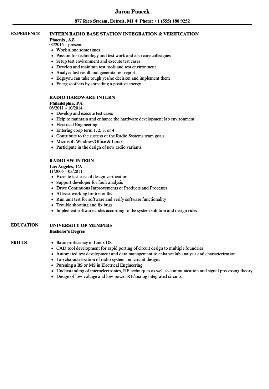 resume for radio internship
