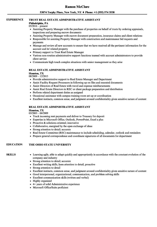 real estate office assistant resume sample