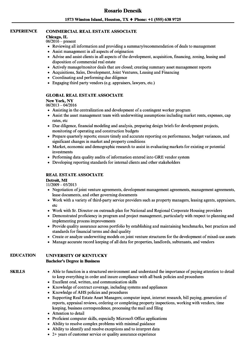 sample corporate associate resume