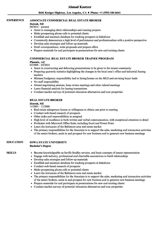 real estate broker resume examples