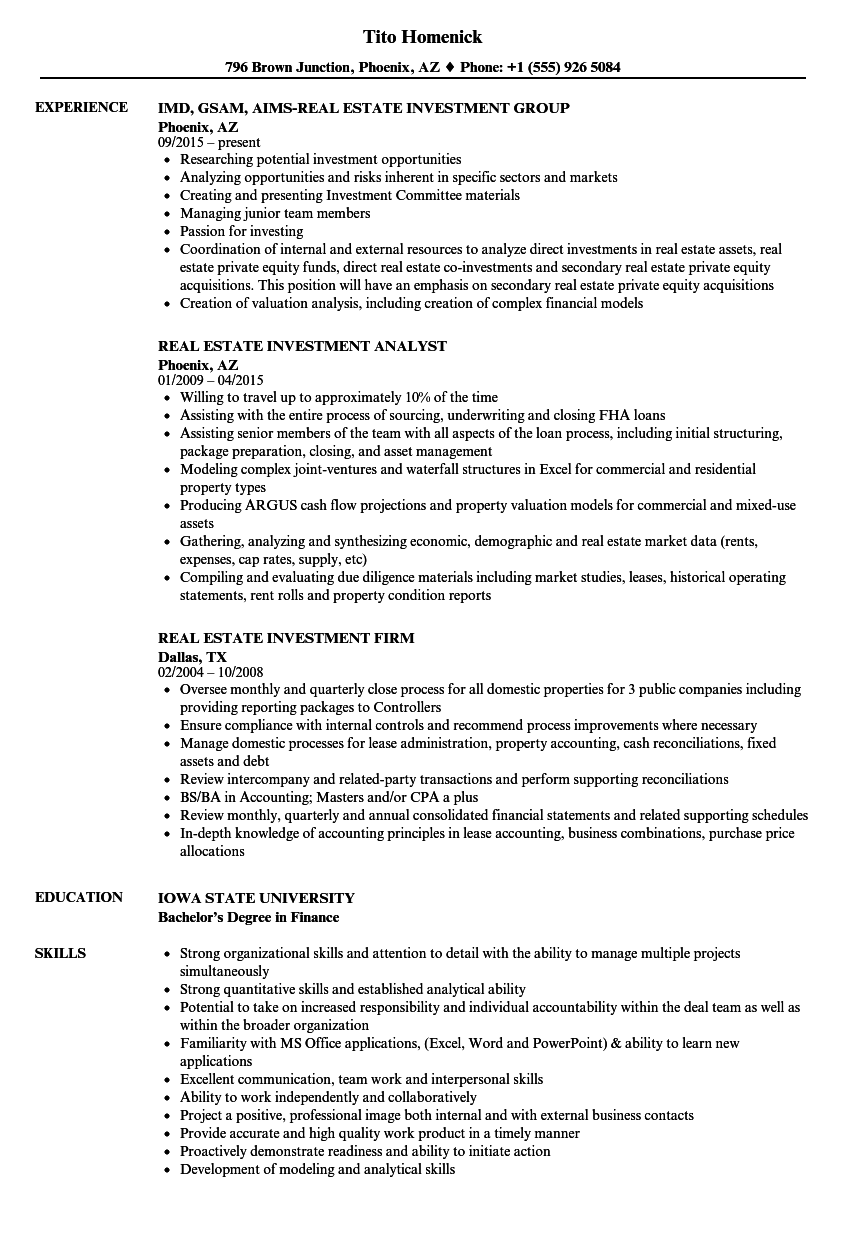 cv private equity example