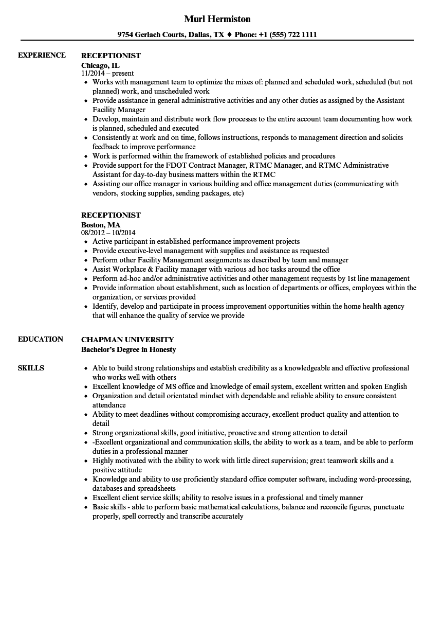 good resume title for receptionist