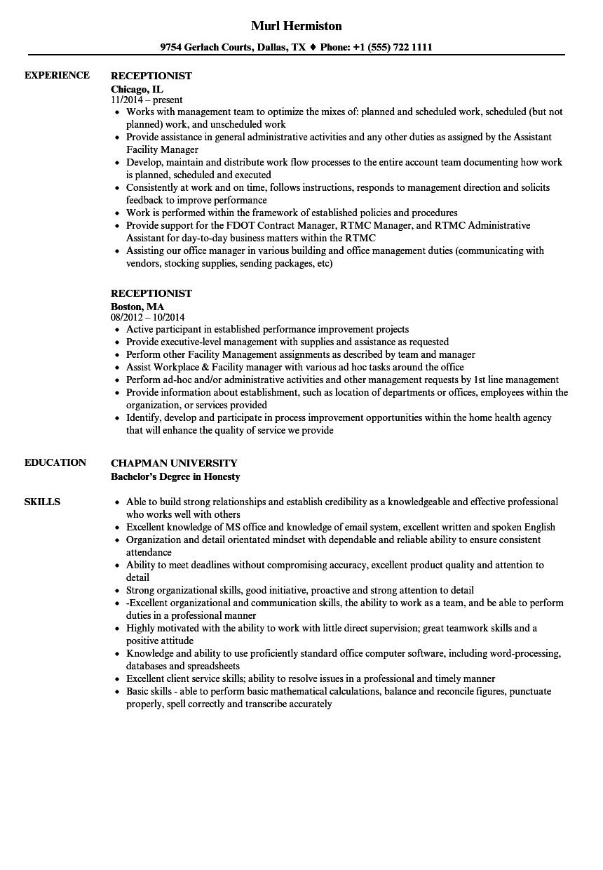 resume samples receptionist position