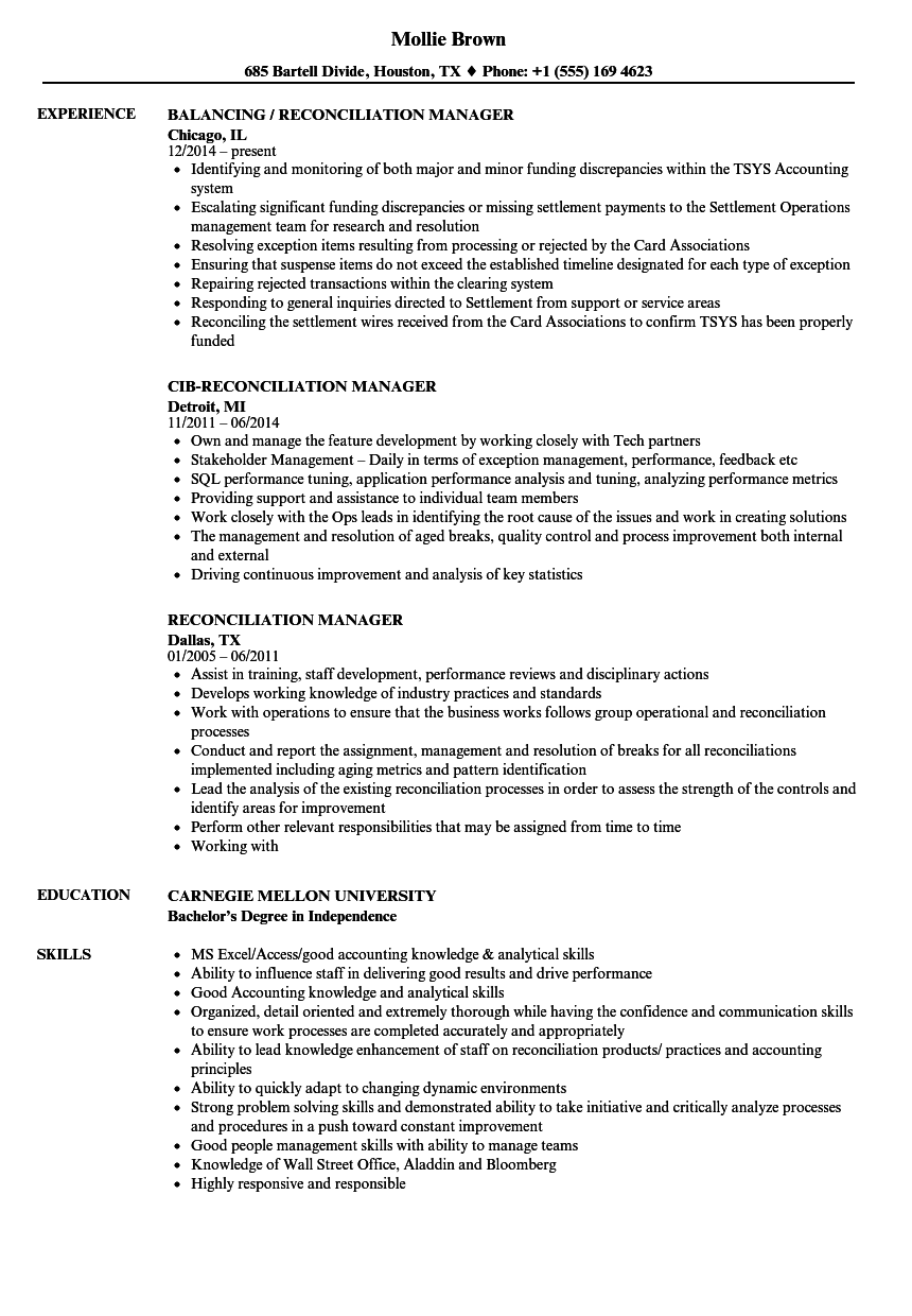 sample resume for reconciliation analyst