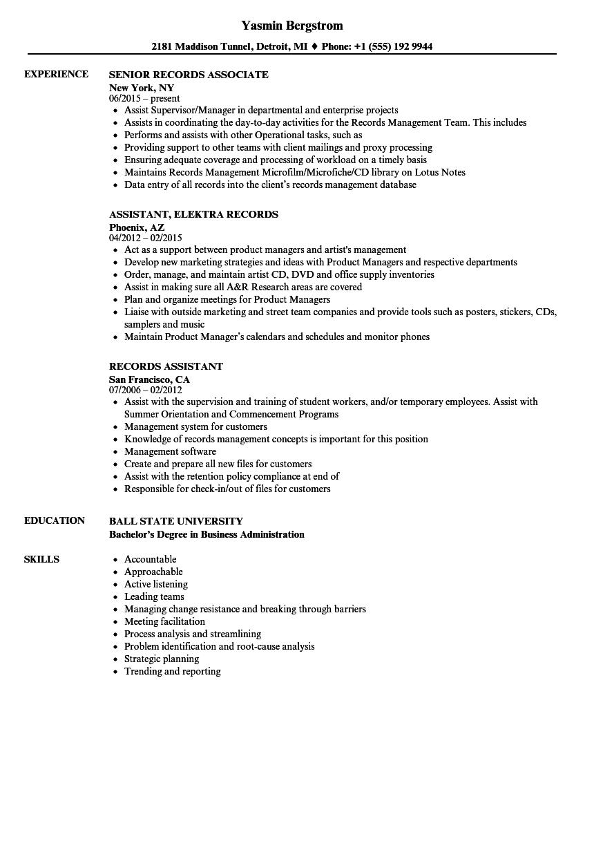 records coordinator resume sample