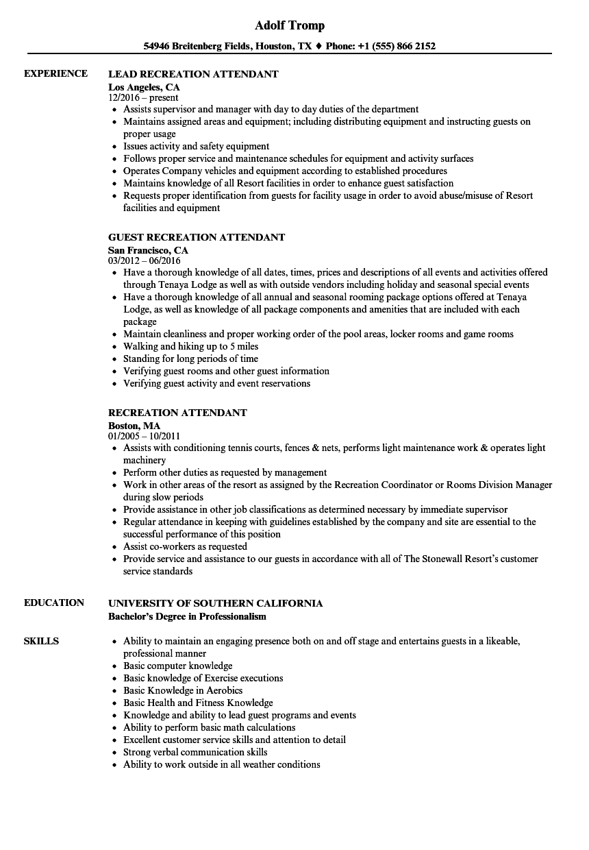 recreation assistant manager resume sample