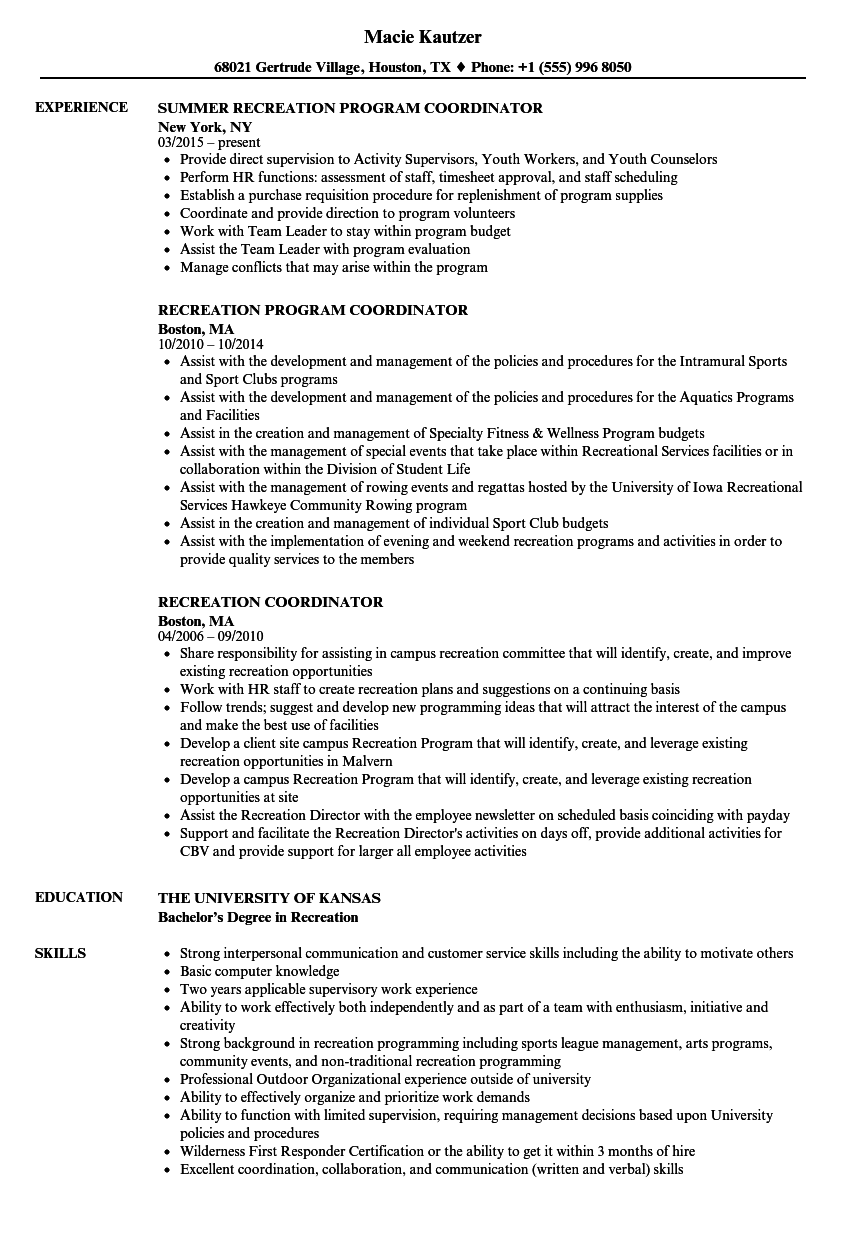 therapeutic recreation assistant resume samples