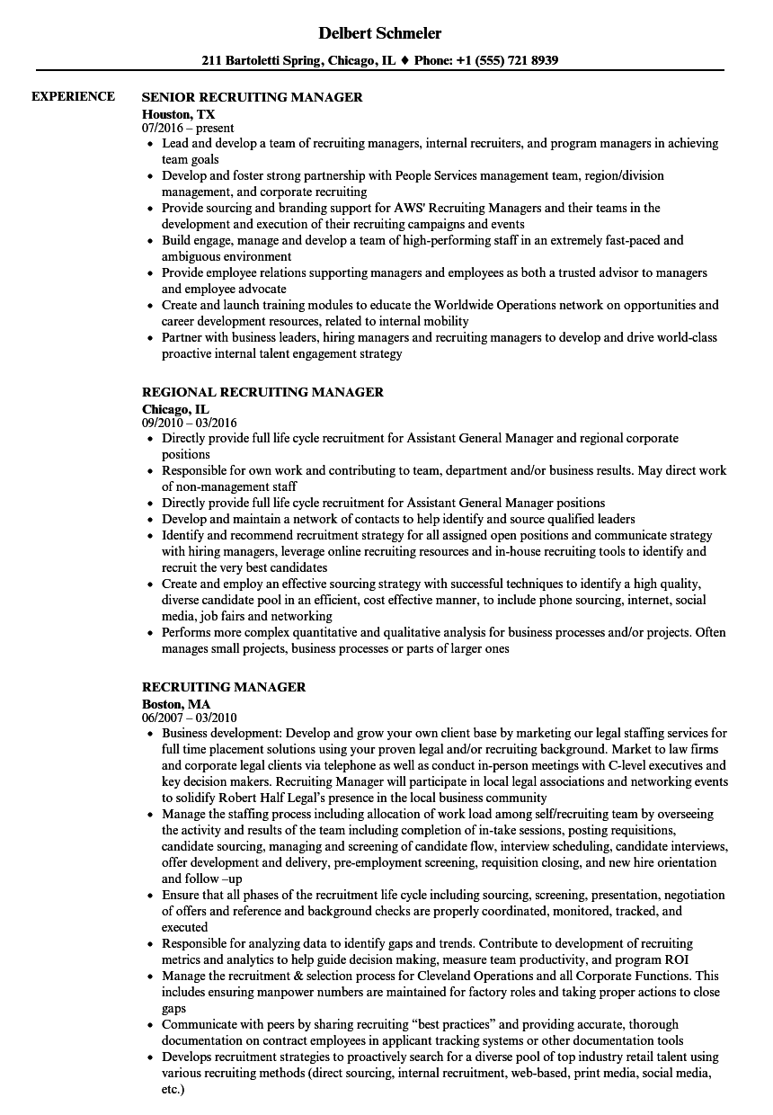 example of recruiting manager resume