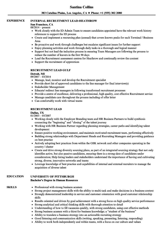 recruitment process resume samples