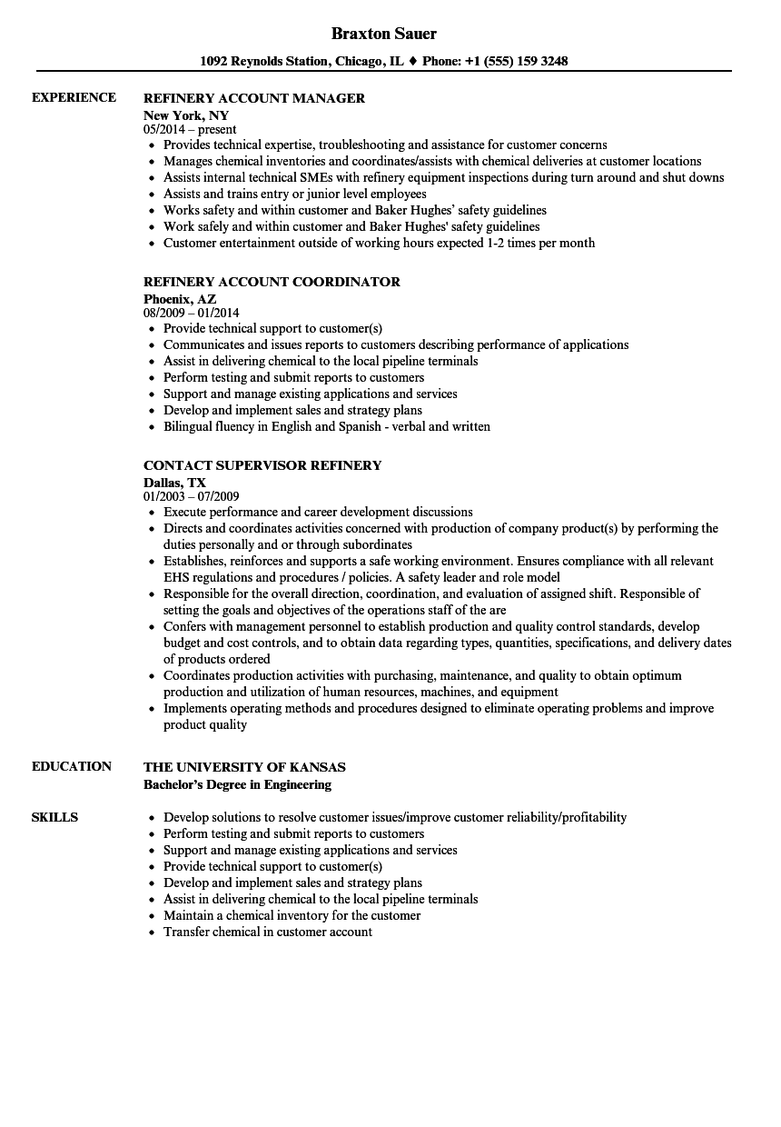 resume examples for refinery jobs