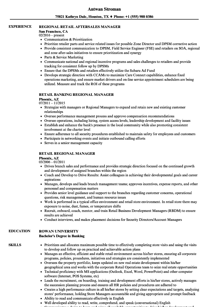 retail regional manager resume samples