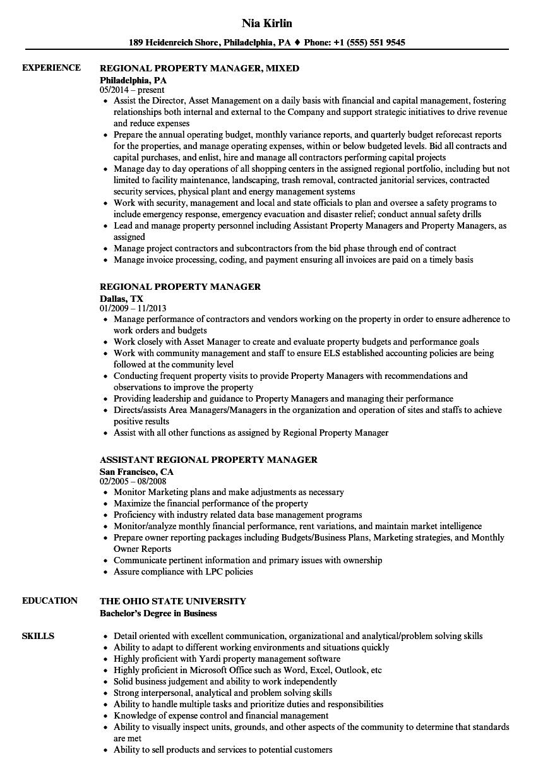 regional property manager sample resume