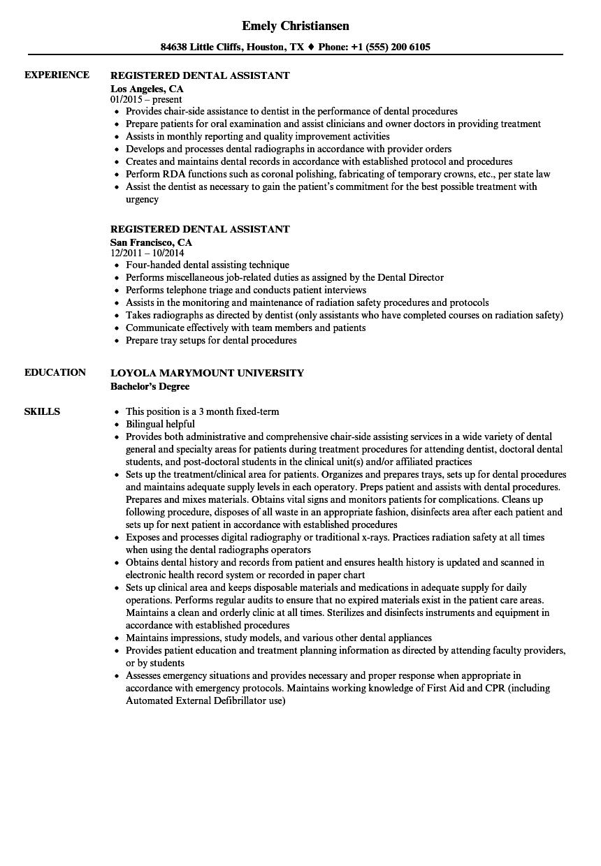 registered dental assistant resume samples