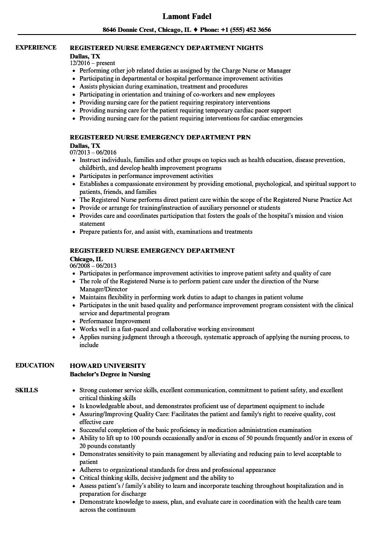 emergency nurse resume examples