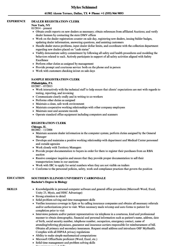 sample resume for patient registration clerk