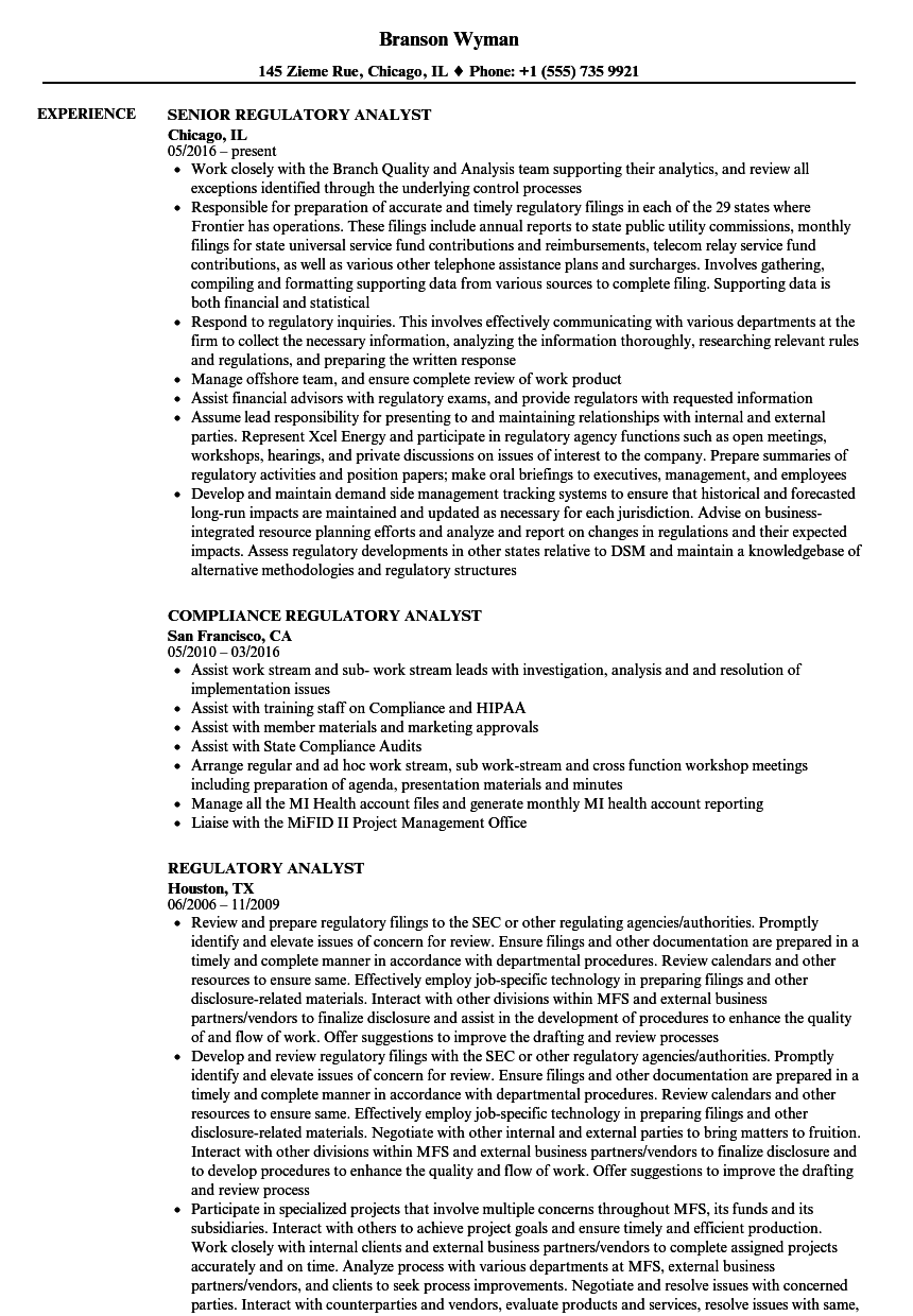 consultant analyst resume sample