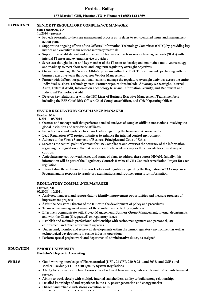 compliance officer cv sample