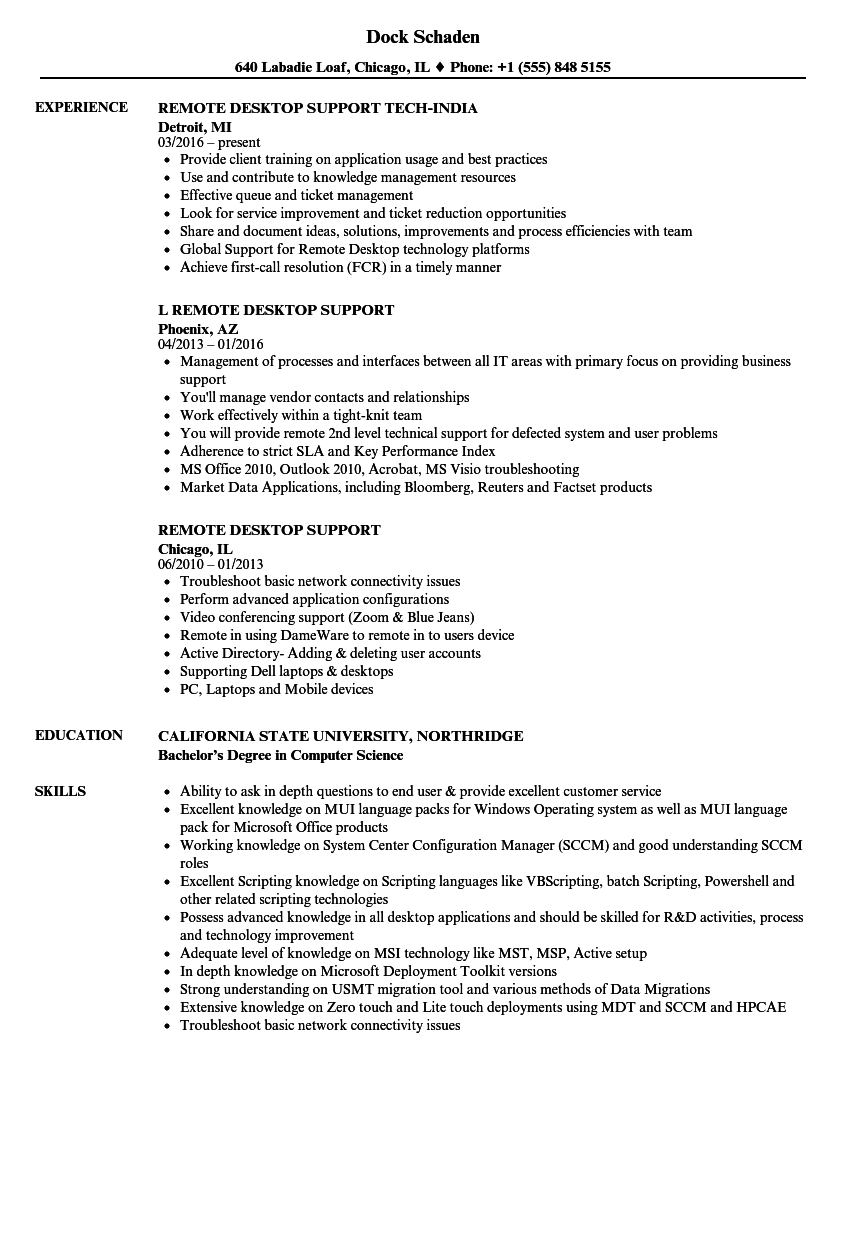 sample remote customer service resume