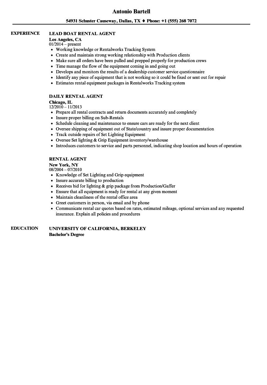 rental resume examples