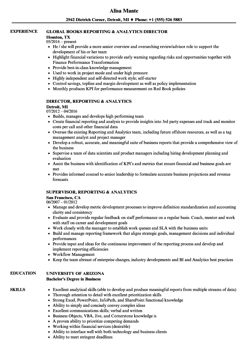 reporting and analytics manager sample resume