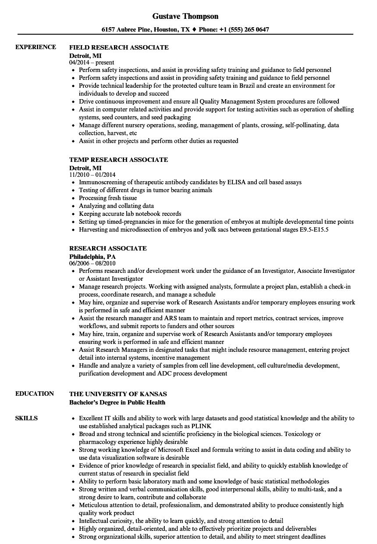 clinical data associate sample resumes