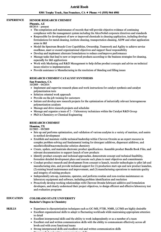 senior chemist resume sample