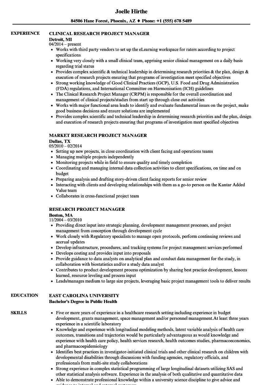 sample resume clinical research manager