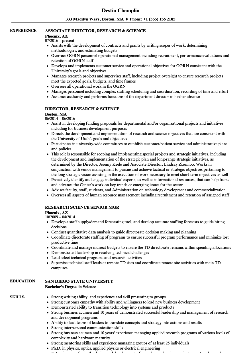 resume sample of a research scientist