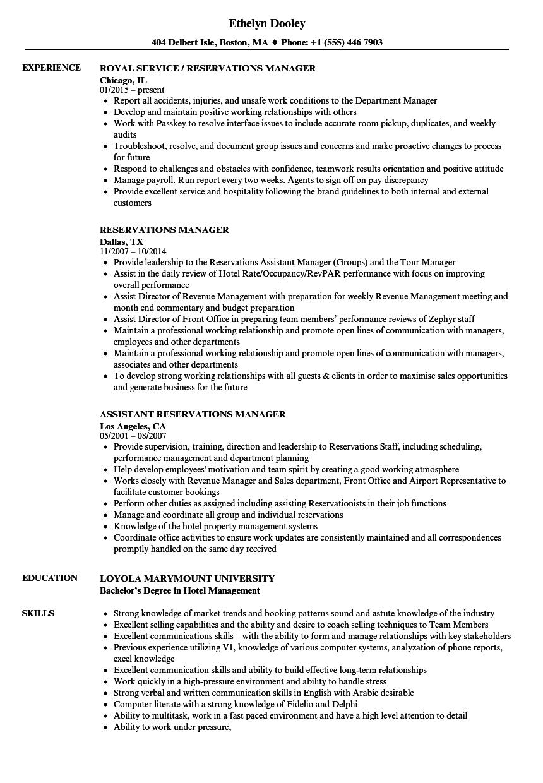 reservation specialist resume sample