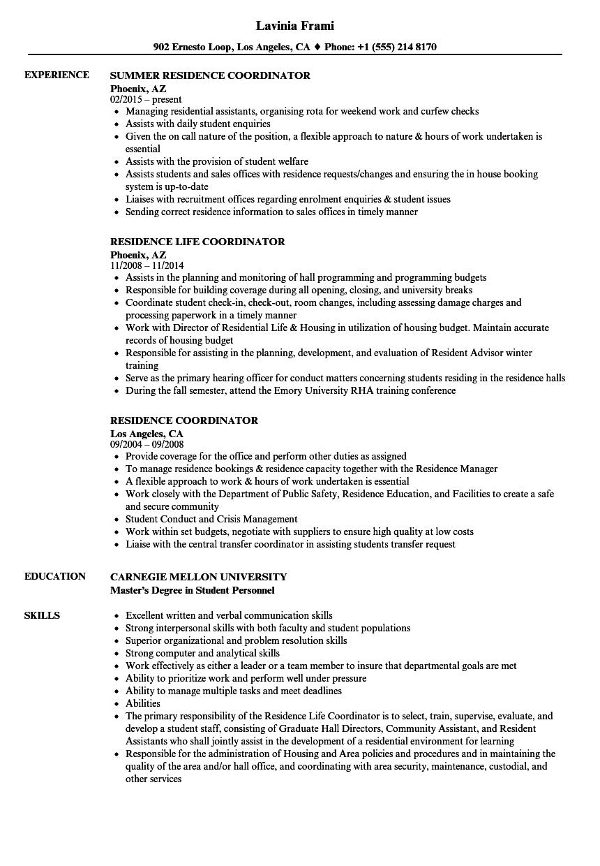 sample resume for residence life coordinator