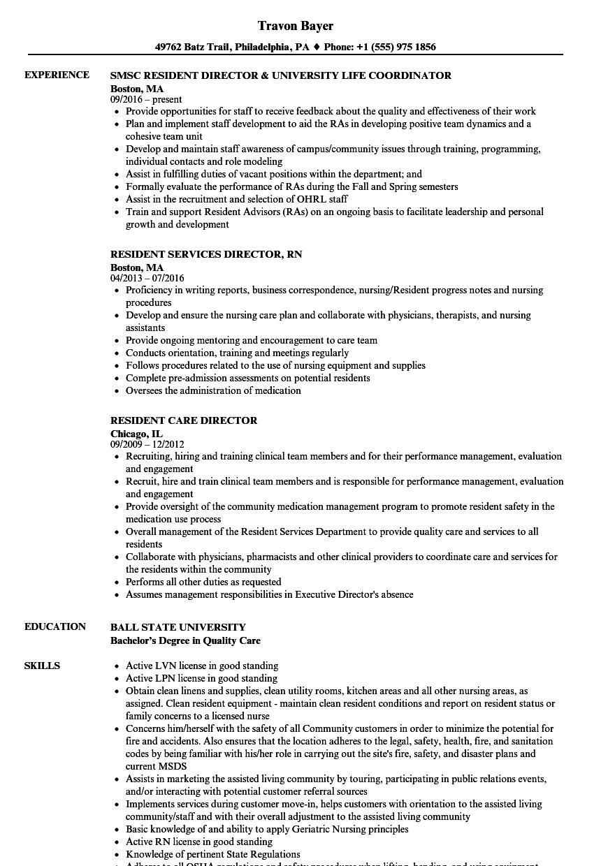 sample resume for resident director