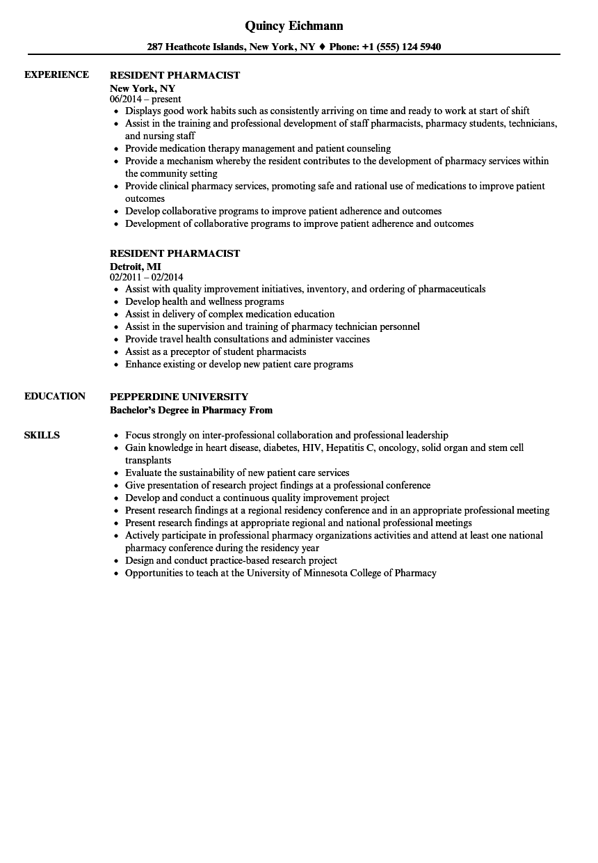 staff pharmacist resume sample