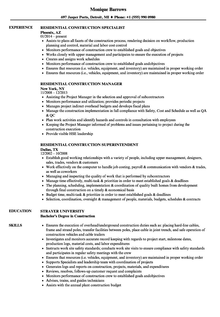 resume construction job examples
