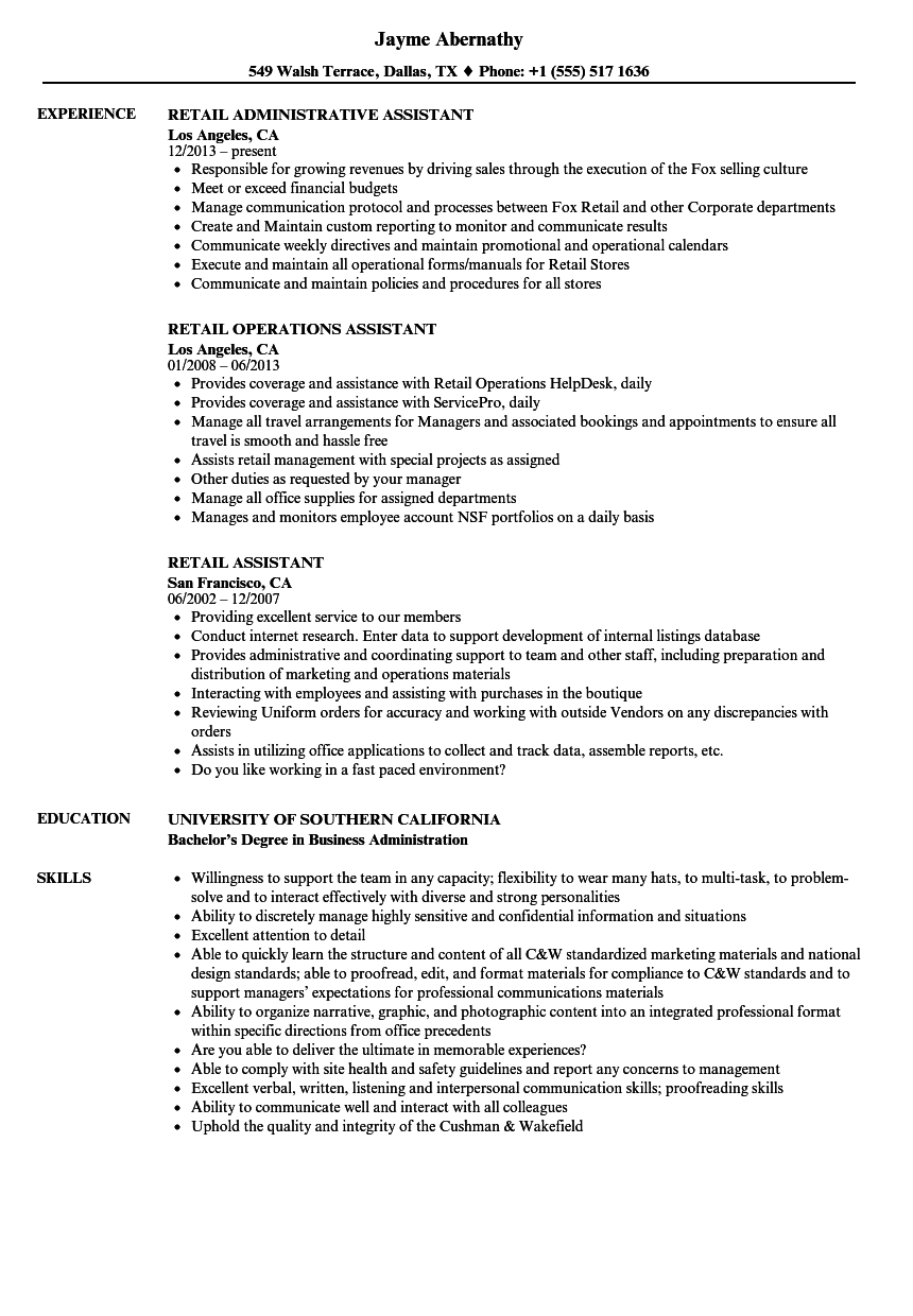 assistant manager sample resume