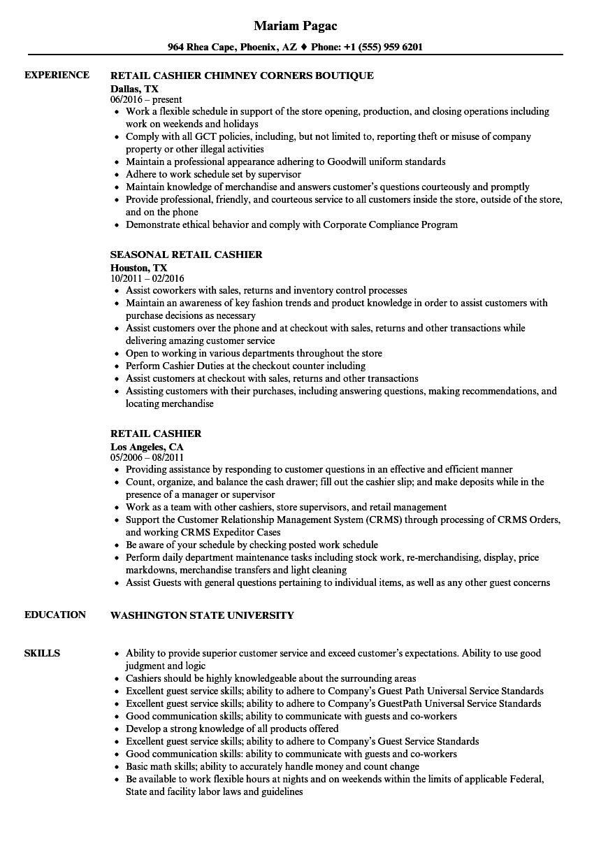resume examples for cashier retail