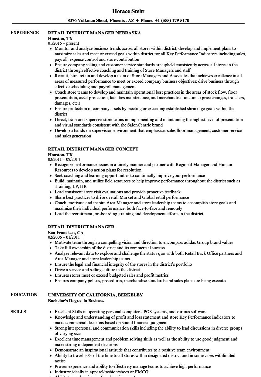 sample resume retail district manager