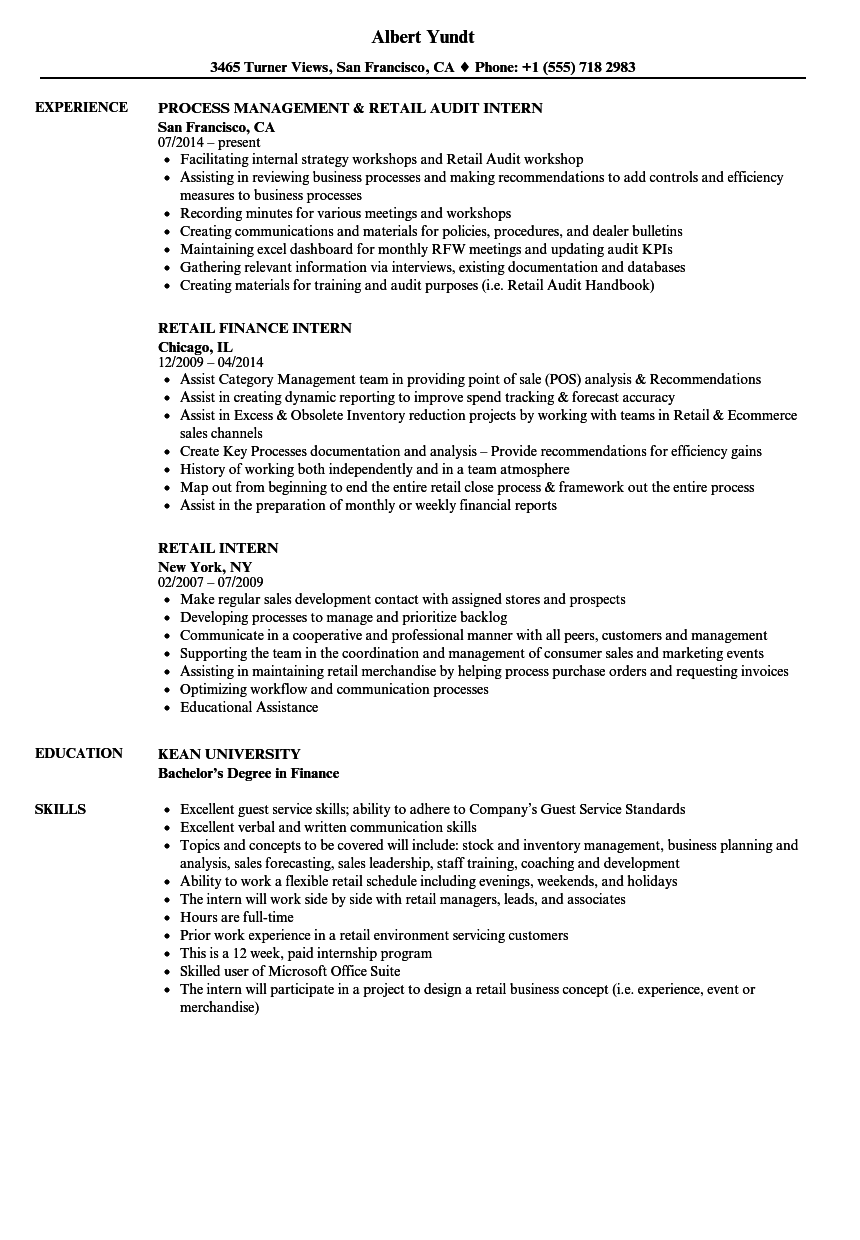 sample resume for retail business