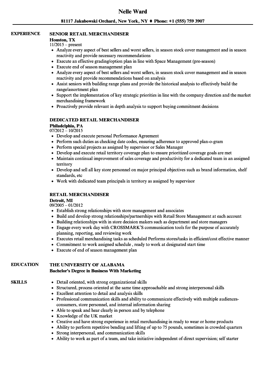 retail merchandiser resume example that gets the job