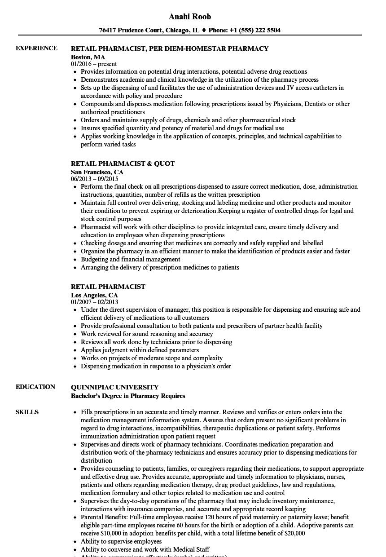 retail pharmacist resume examples