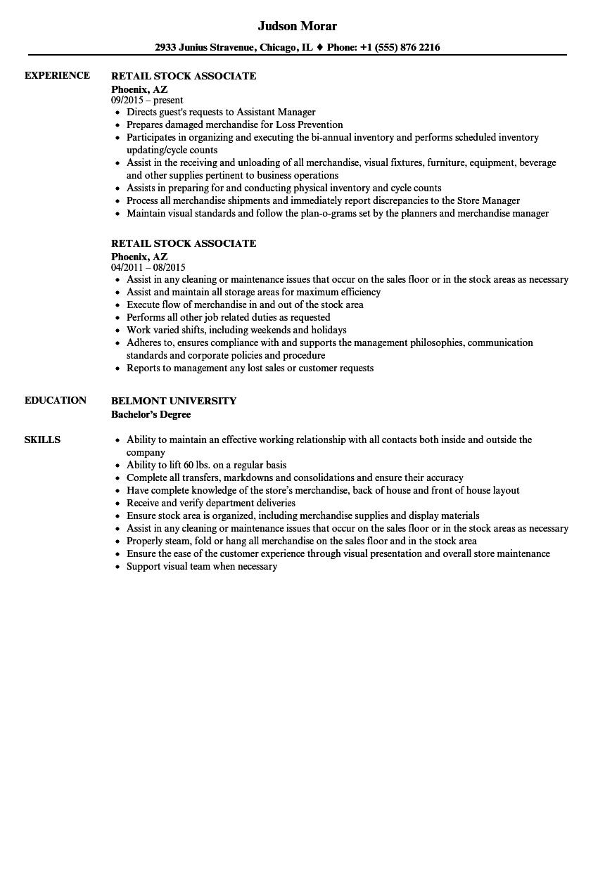 retail stocker resume samples 2019